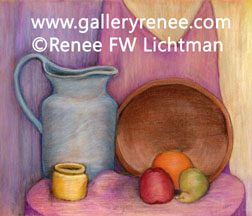 """Blue Pitcher Wooden Bowl"" Pastels on Pastel Paper, Still Life Art Gallery, Fine Art for Sale from Artist Renee FW Lichtman"