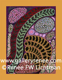 """Cherry"" Ballpoint Pen and Pen and Ink Drawing, Abstract Art Gallery, Fine Art for Sale from Artist Renee FW Lichtman"