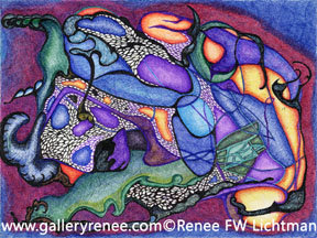 """Dragon's Breath"" Ballpoint Pen and Pen and Ink Drawing, Abstract Art Gallery, Fine Art for Sale from Artist Renee FW Lichtman"