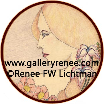 """Gloriaquot; Crayon on Tracing Paper, Figurative and Portrait Art Gallery, Original Art Gallery, Fine Art for Sale from Artist Renee FW Lichtman"