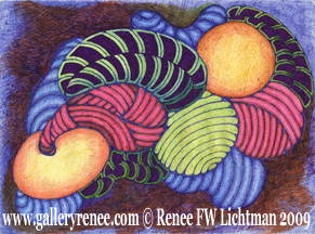 """Harmonics"", Ballpoint Pen Drawing, Abstract Art Gallery, Fine Art for Sale from Artist Renee FW Lichtman"