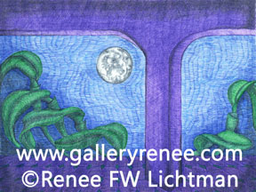 """Moon Over Cattleya"" Landscape Art Gallery, Ballpoint Pen Art, Fine Art for Sale from Artist Renee FW Lichtman"
