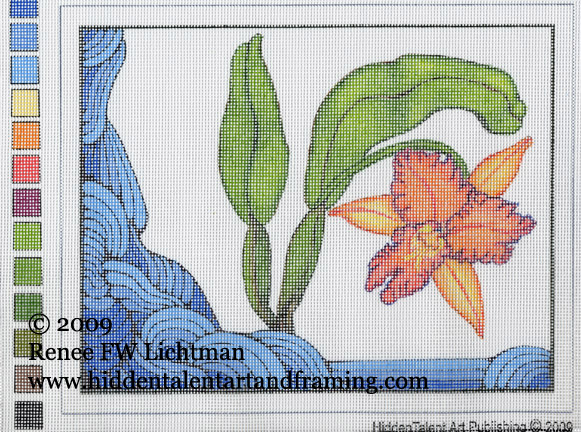 """Art Deco Needlepoint Canvas""  Pigmented print on Needlepoint, Orchid Art, Needlepoint Art, Fine Art for Sale from Artist Renee FW Lichtman"