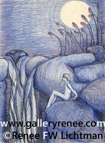 """Rock Nymph"" Ballpoint Pen, Pen and Ink Art Gallery, Fine Art for Sale from Artist Renee FW Lichtman"