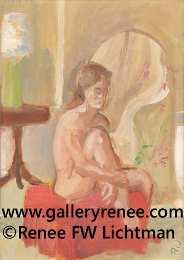 """Small Nude"" Oil Paints on Canvas Board, Figurative and Portrait Art Gallery, Original Art Gallery,Fine Art for Sale from Artist Renee FW Lichtman"