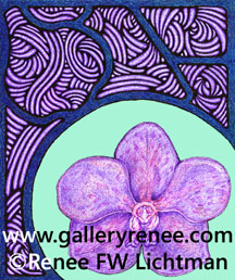 """Stained Glass Vanda Aqua"" Ballpoint Pen Pen and Ink and Digital Recomposition, Ballpoint Pen Art Gallery, Fine Art for Sale from Artist Renee FW Lichtman"
