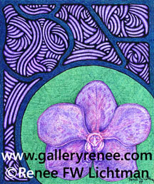 """Stained Glass Vanda Green"" Ballpoint Pen and Pen and Ink Drawing, Ballpoint Pen Art Gallery, Fine Art for Sale from Artist Renee FW Lichtman"
