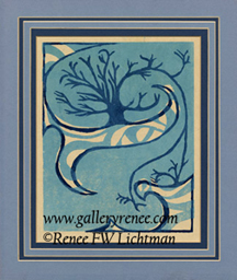 """Tree""  Hand Pulled Linoleum Print,Abstract Art Gallery, Fine Art for Sale from Artist Renee FW Lichtman"