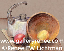 """White Kettle Wooden Bowl"" Pastels on Pastel Paper, Still Life Art Gallery, Fine Art for Sale from Artist Renee FW Lichtman"