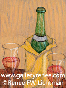 """Wine and Glasses"" Crayon on Brown Paper, Still Life Art Gallery, Fine Art for Sale from Artist Renee FW Lichtman"