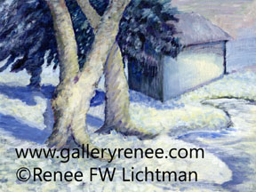 """Winter"" Acrylic Painting on Canvas Board, Landscape Art Gallery, Fine Art for Sale from Artist Renee FW Lichtman"